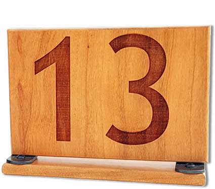 Table numbers double sided 9 x 3 warm cherry winwood for Table design numbers