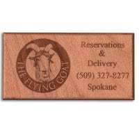 Flying Goat Restaurant Reminder Engraved Hardwood Business Card - WinWoodDesigns.com