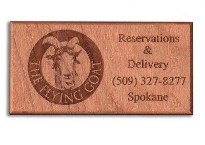 Flying Goat Restaurant Reminder Engraved Hardwood Business Card - WinWoodDesigns.com