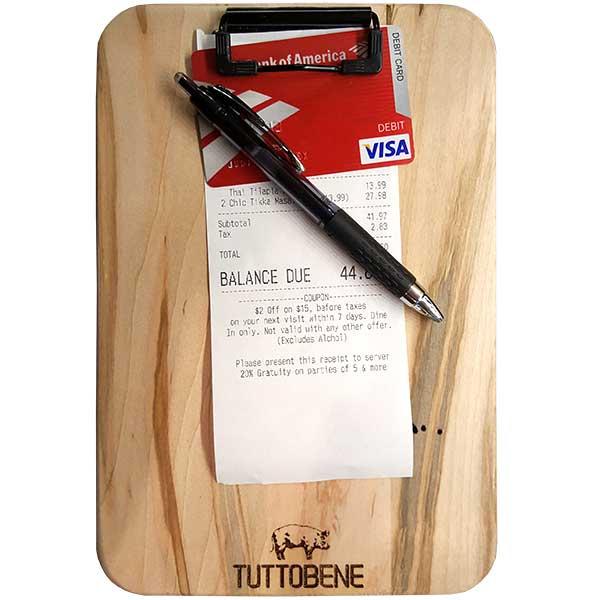 Wooden Custom Engraved Check Presenter Bill Holder for Restaurants